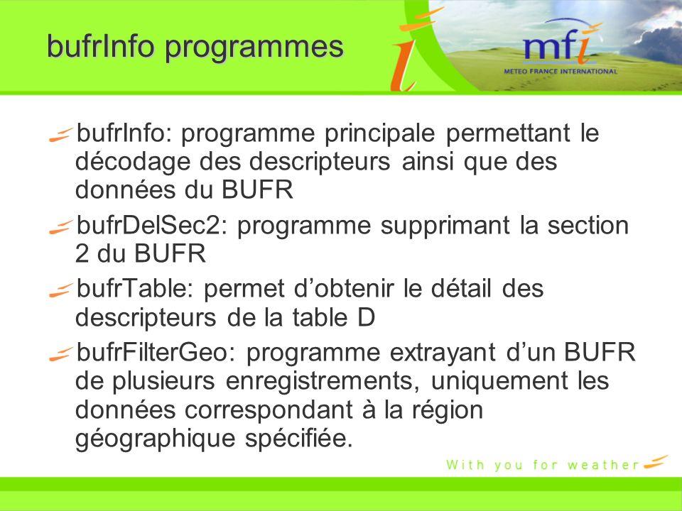 bufrInfo programmes bufrInfo: programme principale permettant le décodage des descripteurs ainsi que des données du BUFR bufrDelSec2: programme suppri