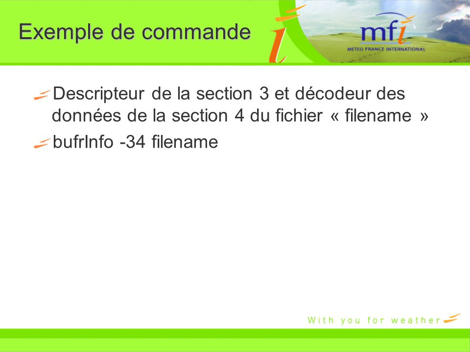 Exemple de commande Descripteur de la section 3 et décodeur des données de la section 4 du fichier « filename » bufrInfo -34 filename
