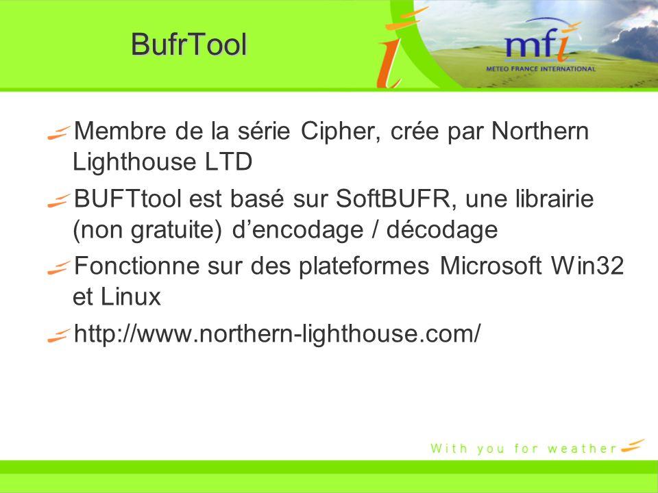 BufrTool Membre de la série Cipher, crée par Northern Lighthouse LTD BUFTtool est basé sur SoftBUFR, une librairie (non gratuite) dencodage / décodage
