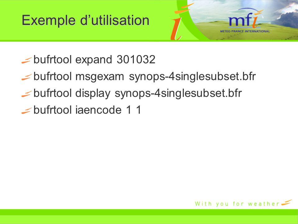 Exemple dutilisation bufrtool expand 301032 bufrtool msgexam synops-4singlesubset.bfr bufrtool display synops-4singlesubset.bfr bufrtool iaencode 1 1