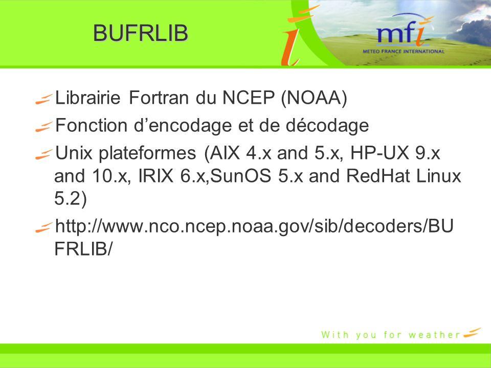 BUFRLIB Librairie Fortran du NCEP (NOAA) Fonction dencodage et de décodage Unix plateformes (AIX 4.x and 5.x, HP-UX 9.x and 10.x, IRIX 6.x,SunOS 5.x a