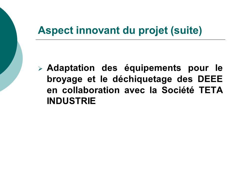 Aspect innovant du projet (suite) Adaptation des équipements pour le broyage et le déchiquetage des DEEE en collaboration avec la Société TETA INDUSTR