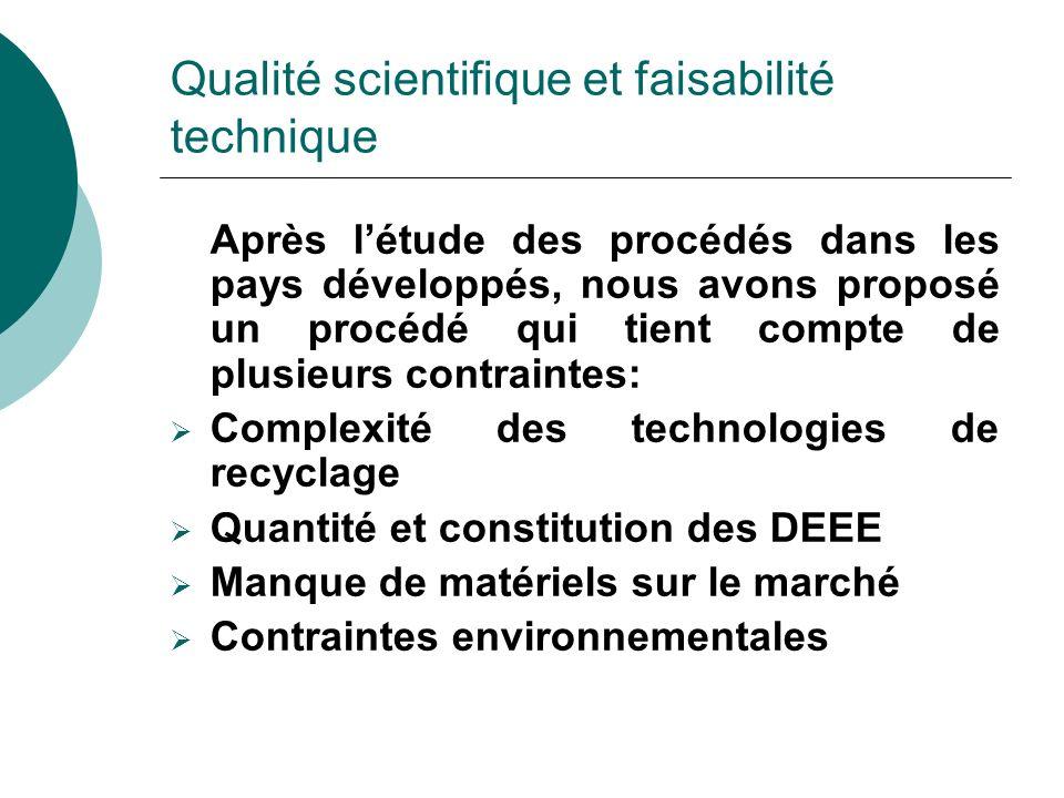 Qualité scientifique et faisabilité technique Après létude des procédés dans les pays développés, nous avons proposé un procédé qui tient compte de pl