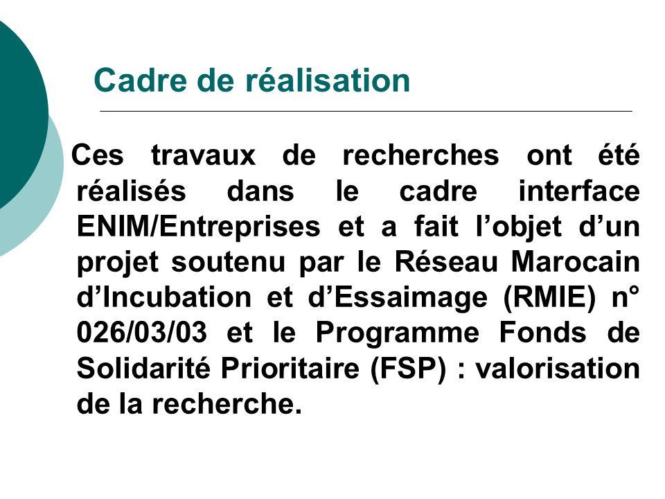 Cadre de réalisation Ces travaux de recherches ont été réalisés dans le cadre interface ENIM/Entreprises et a fait lobjet dun projet soutenu par le Ré