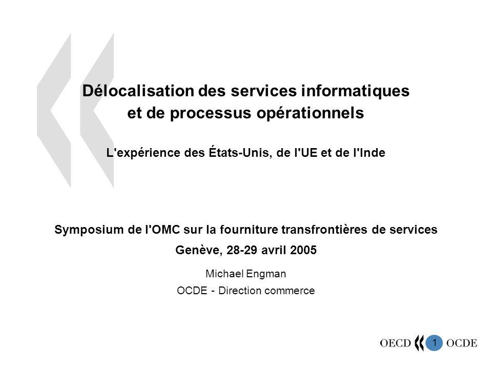 1 Délocalisation des services informatiques et de processus opérationnels L'expérience des États-Unis, de l'UE et de l'Inde Symposium de l'OMC sur la