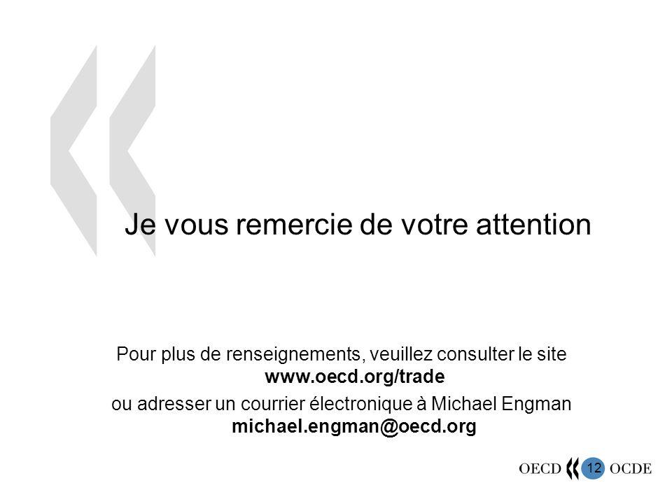 12 Je vous remercie de votre attention Pour plus de renseignements, veuillez consulter le site www.oecd.org/trade ou adresser un courrier électronique à Michael Engman michael.engman@oecd.org