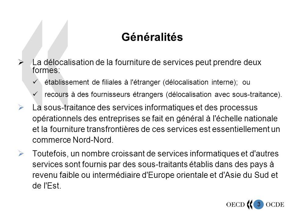 3 La délocalisation de la fourniture de services peut prendre deux formes: établissement de filiales à l étranger (délocalisation interne); ou recours à des fournisseurs étrangers (délocalisation avec sous-traitance).