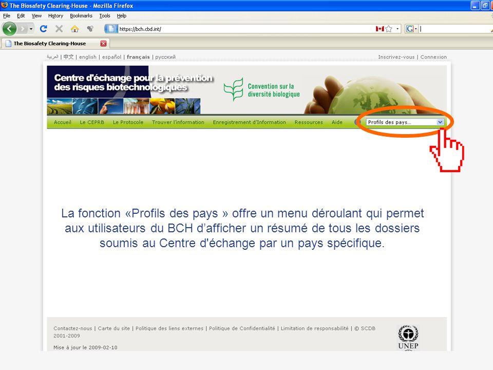La fonction «Profils des pays » offre un menu déroulant qui permet aux utilisateurs du BCH dafficher un résumé de tous les dossiers soumis au Centre d échange par un pays spécifique.