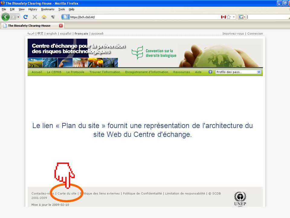 Le lien « Plan du site » fournit une représentation de l'architecture du site Web du Centre d'échange.