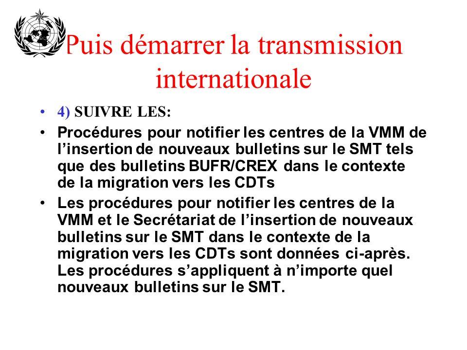 Puis démarrer la transmission internationale 4) SUIVRE LES: Procédures pour notifier les centres de la VMM de linsertion de nouveaux bulletins sur le SMT tels que des bulletins BUFR/CREX dans le contexte de la migration vers les CDTs Les procédures pour notifier les centres de la VMM et le Secrétariat de linsertion de nouveaux bulletins sur le SMT dans le contexte de la migration vers les CDTs sont données ci-après.