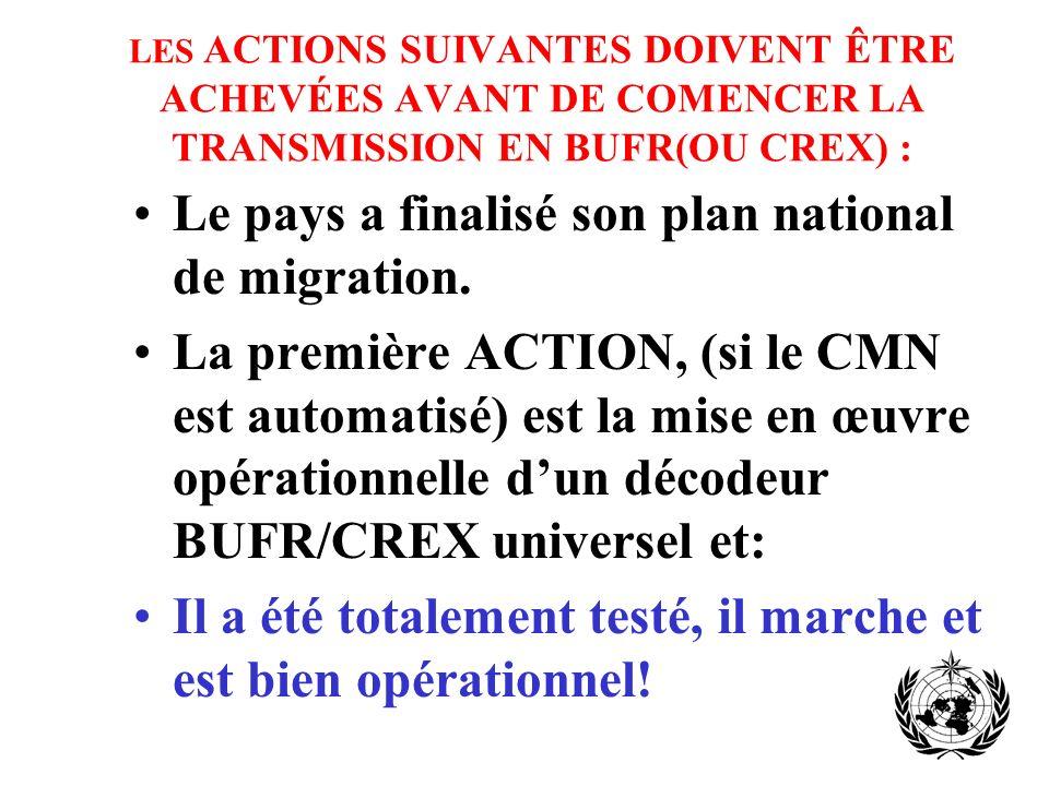 LES ACTIONS SUIVANTES DOIVENT ÊTRE ACHEVÉES AVANT DE COMENCER LA TRANSMISSION EN BUFR(OU CREX) : Le pays a finalisé son plan national de migration.