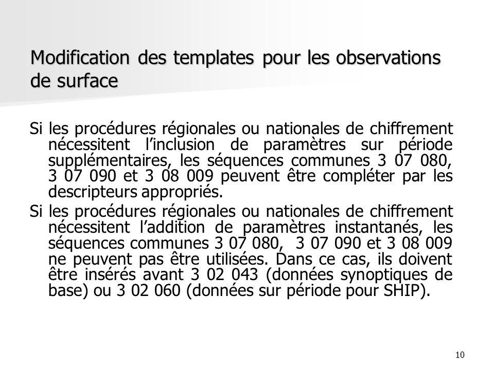 10 Modification des templates pour les observations de surface Si les procédures régionales ou nationales de chiffrement nécessitent linclusion de par