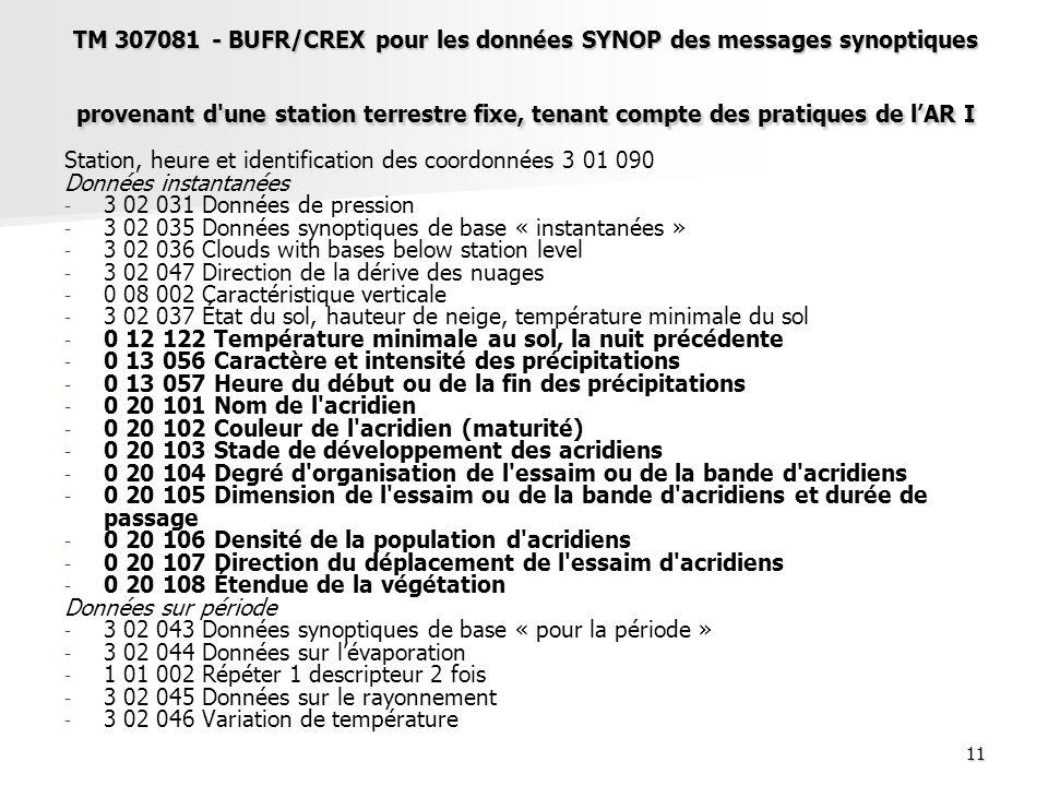 11 TM 307081 - BUFR/CREX pour les données SYNOP des messages synoptiques provenant d'une station terrestre fixe, tenant compte des pratiques de lAR I