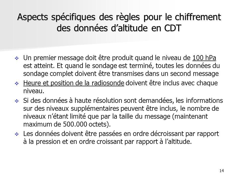14 Aspects spécifiques des règles pour le chiffrement des données daltitude en CDT Un premier message doit être produit quand le niveau de 100 hPa est