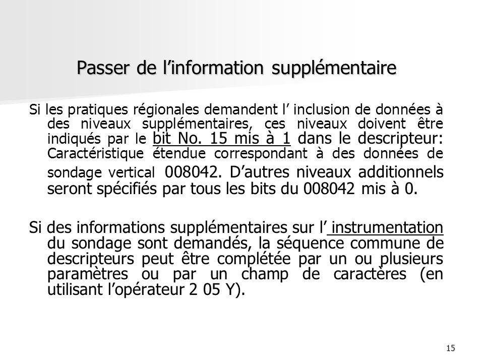 15 Passer de linformation supplémentaire Passer de linformation supplémentaire Si les pratiques régionales demandent l inclusion de données à des nive
