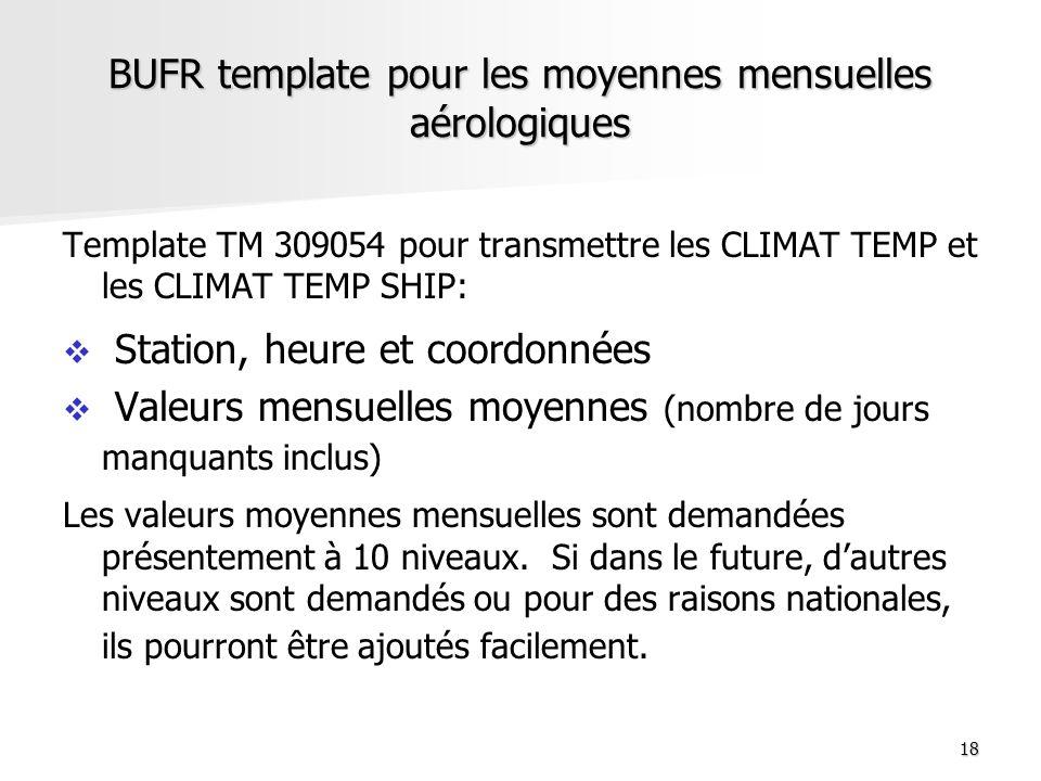18 BUFR template pour les moyennes mensuelles aérologiques Template TM 309054 pour transmettre les CLIMAT TEMP et les CLIMAT TEMP SHIP: Station, heure