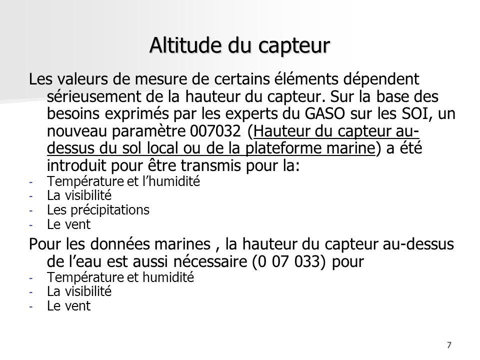 7 Altitude du capteur Les valeurs de mesure de certains éléments dépendent sérieusement de la hauteur du capteur. Sur la base des besoins exprimés par