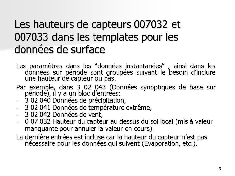 10 Modification des templates pour les observations de surface Si les procédures régionales ou nationales de chiffrement nécessitent linclusion de paramètres sur période supplémentaires, les séquences communes 3 07 080, 3 07 090 et 3 08 009 peuvent être compléter par les descripteurs appropriés.