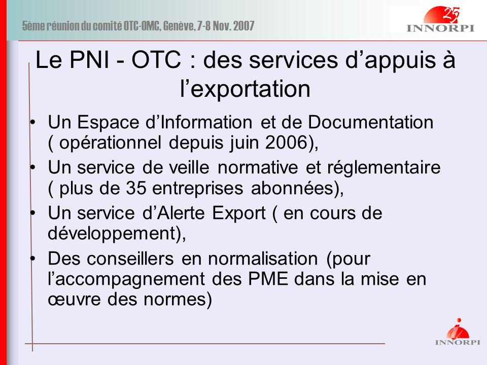 5ème réunion du comité OTC-OMC, Genève, 7-8 Nov. 2007 Le PNI - OTC : des services dappuis à lexportation Un Espace dInformation et de Documentation (