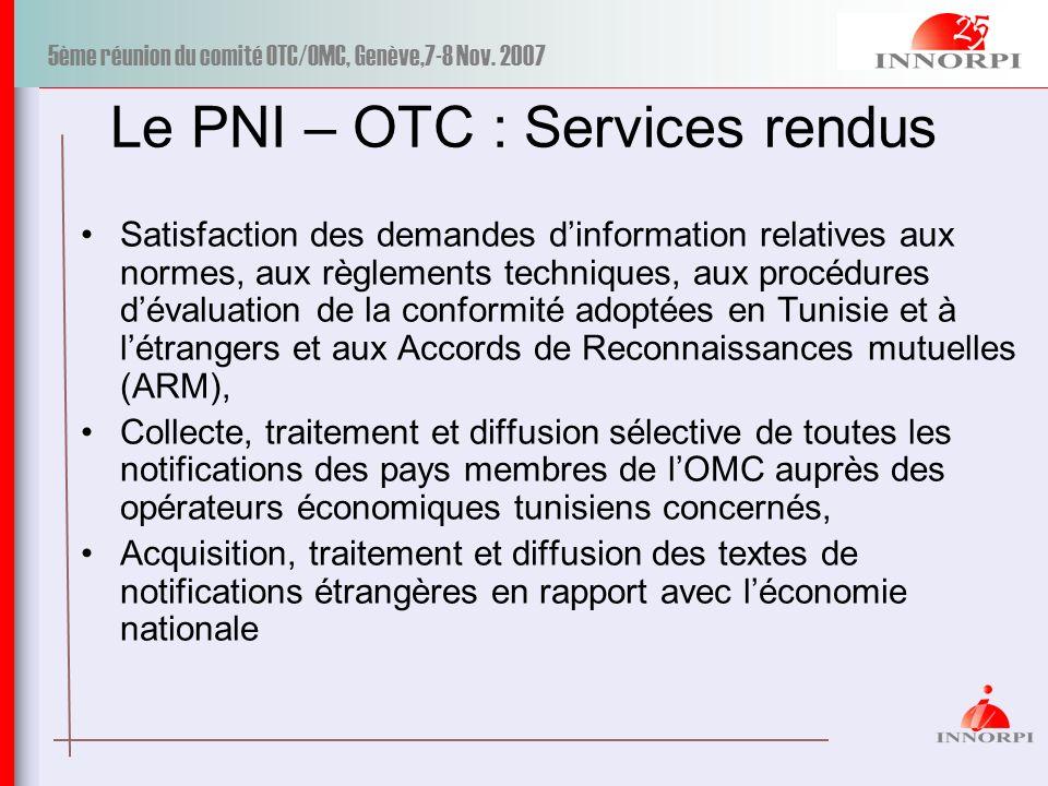 5ème réunion du comité OTC/OMC, Genève,7-8 Nov. 2007 Le PNI – OTC : Services rendus Satisfaction des demandes dinformation relatives aux normes, aux r