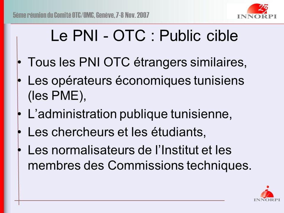 5ème réunion du Comité OTC/OMC, Genève, 7-8 Nov. 2007 Le PNI - OTC : Public cible Tous les PNI OTC étrangers similaires, Les opérateurs économiques tu