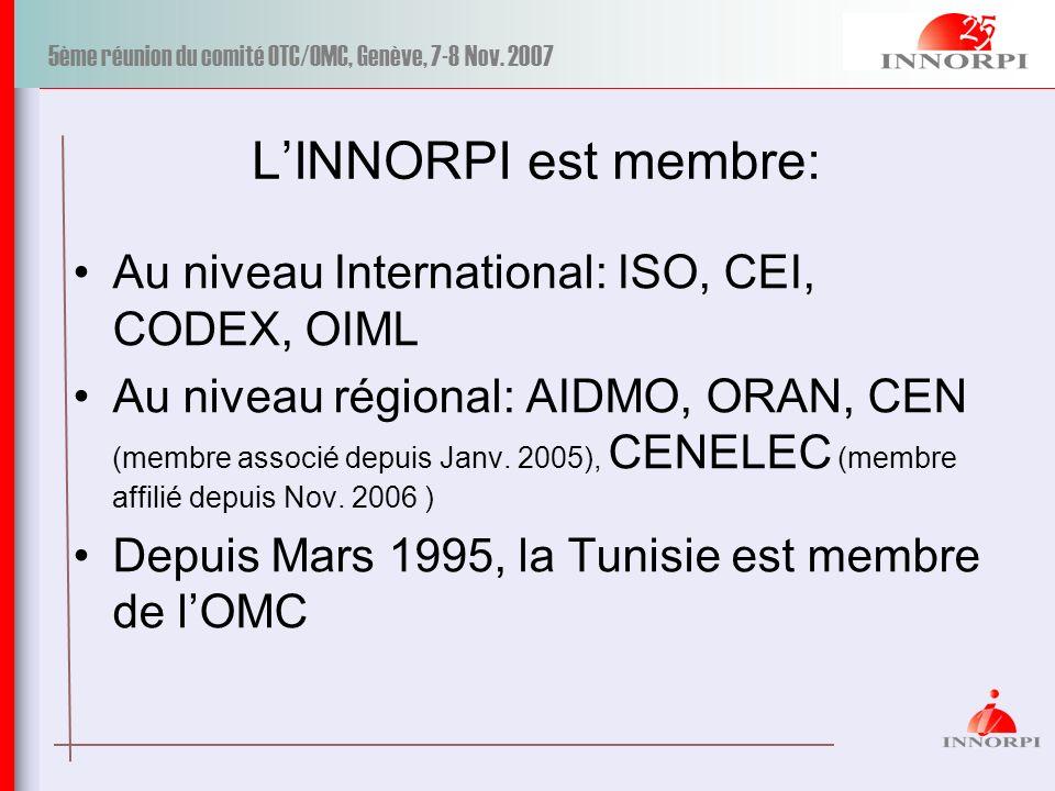 5ème réunion du comité OTC/OMC, Genève, 7-8 Nov. 2007 LINNORPI est membre: Au niveau International: ISO, CEI, CODEX, OIML Au niveau régional: AIDMO, O