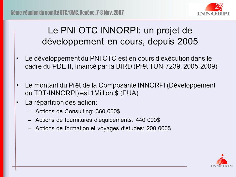 5ème réunion du comité OTC/OMC, Genève, 7-8 Nov. 2007 Le PNI OTC INNORPI: un projet de développement en cours, depuis 2005 Le développement du PNI OTC