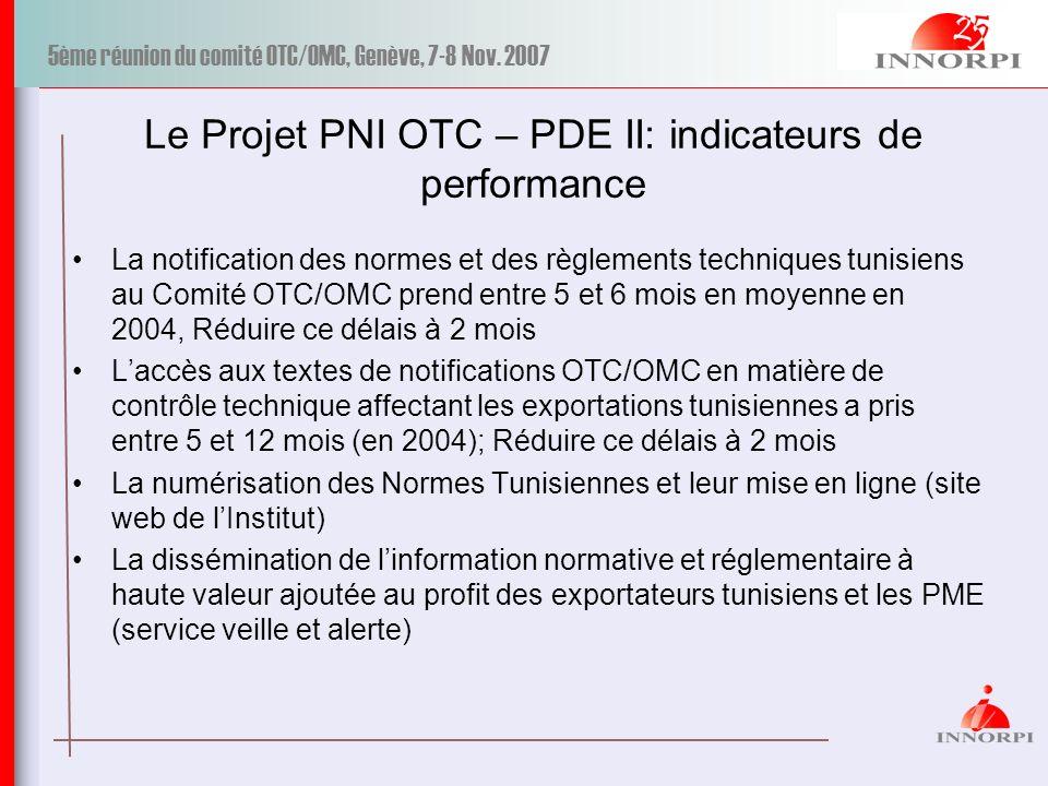 5ème réunion du comité OTC/OMC, Genève, 7-8 Nov. 2007 Le Projet PNI OTC – PDE II: indicateurs de performance La notification des normes et des règleme