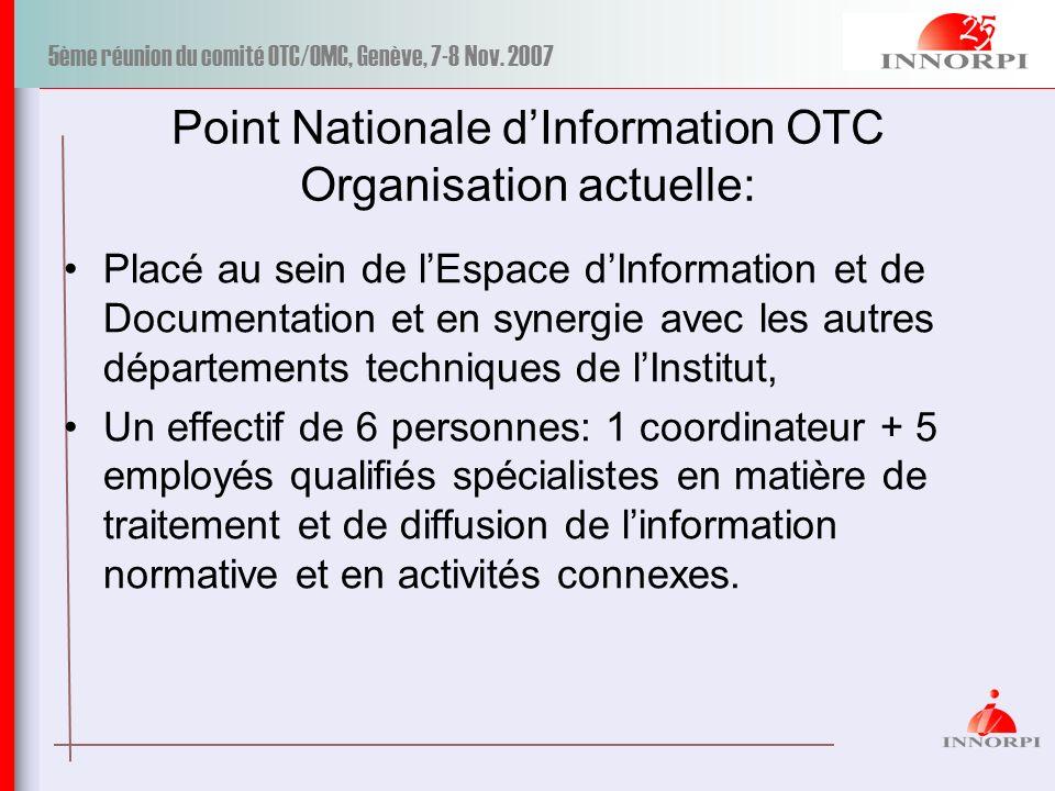 5ème réunion du comité OTC/OMC, Genève, 7-8 Nov. 2007 Point Nationale dInformation OTC Organisation actuelle: Placé au sein de lEspace dInformation et