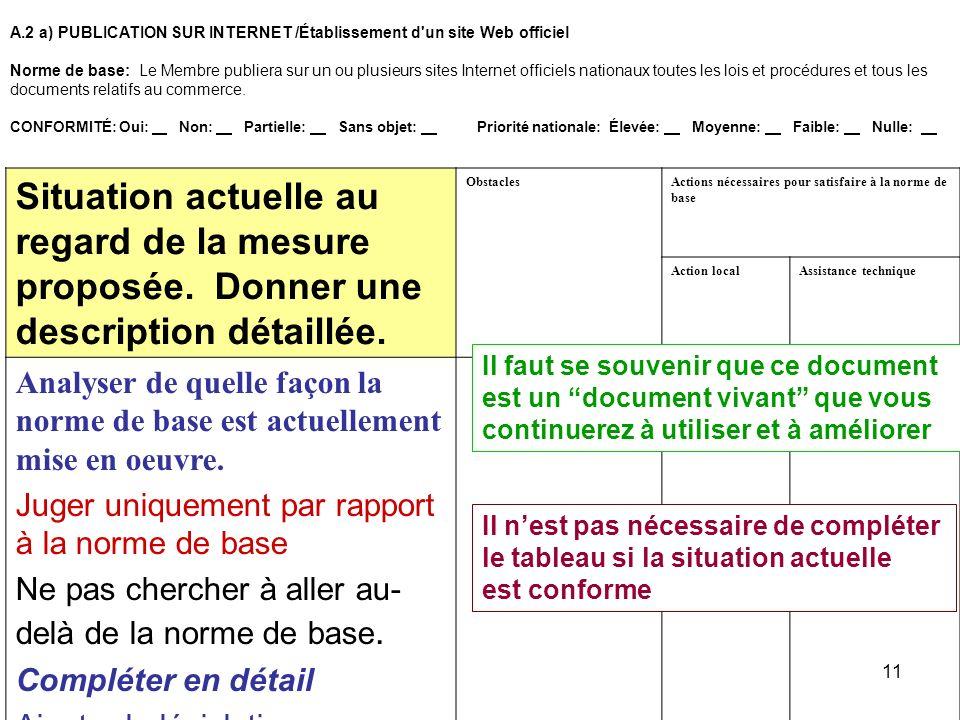 11 A.2 a)PUBLICATION SUR INTERNET /Établissement d'un site Web officiel Norme de base: Le Membre publiera sur un ou plusieurs sites Internet officiels