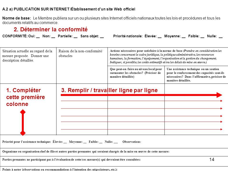 14 A.2 a)PUBLICATION SUR INTERNET /Établissement d'un site Web officiel Norme de base: Le Membre publiera sur un ou plusieurs sites Internet officiels