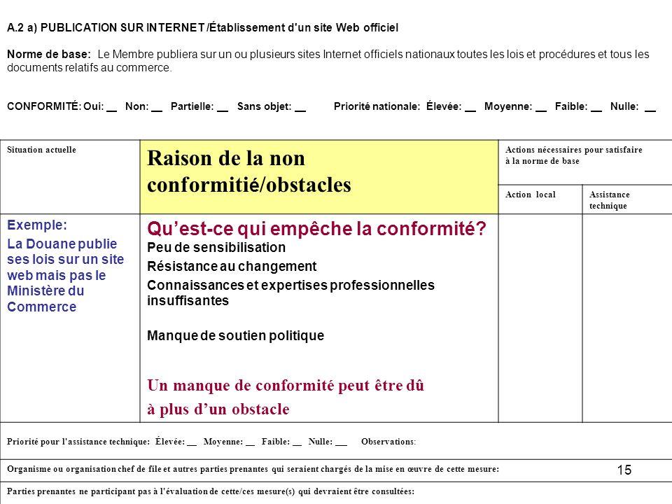 15 A.2 a)PUBLICATION SUR INTERNET /Établissement d'un site Web officiel Norme de base: Le Membre publiera sur un ou plusieurs sites Internet officiels