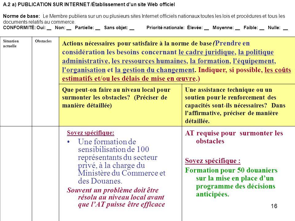 16 A.2 a)PUBLICATION SUR INTERNET /Établissement d'un site Web officiel Norme de base: Le Membre publiera sur un ou plusieurs sites Internet officiels