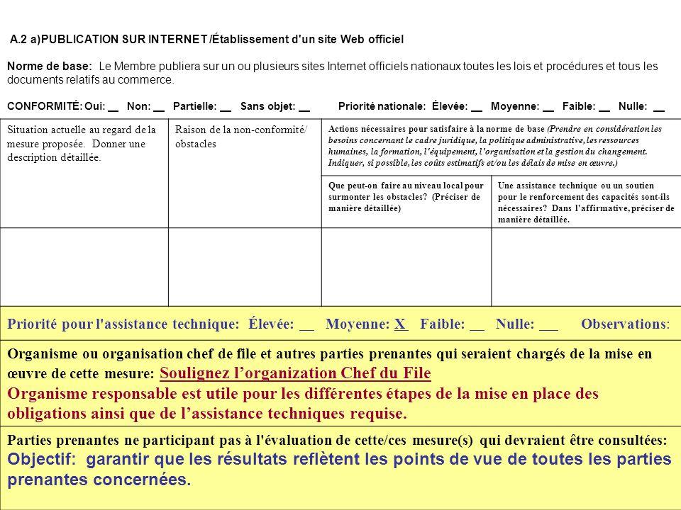 18 A.2 a)PUBLICATION SUR INTERNET /Établissement d'un site Web officiel Norme de base: Le Membre publiera sur un ou plusieurs sites Internet officiels