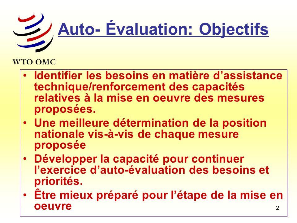 2 Auto- Évaluation: Objectifs Identifier les besoins en matière dassistance technique/renforcement des capacités relatives à la mise en oeuvre des mes