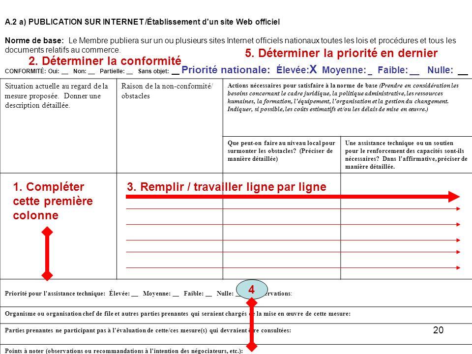 20 A.2 a)PUBLICATION SUR INTERNET /Établissement d'un site Web officiel Norme de base: Le Membre publiera sur un ou plusieurs sites Internet officiels