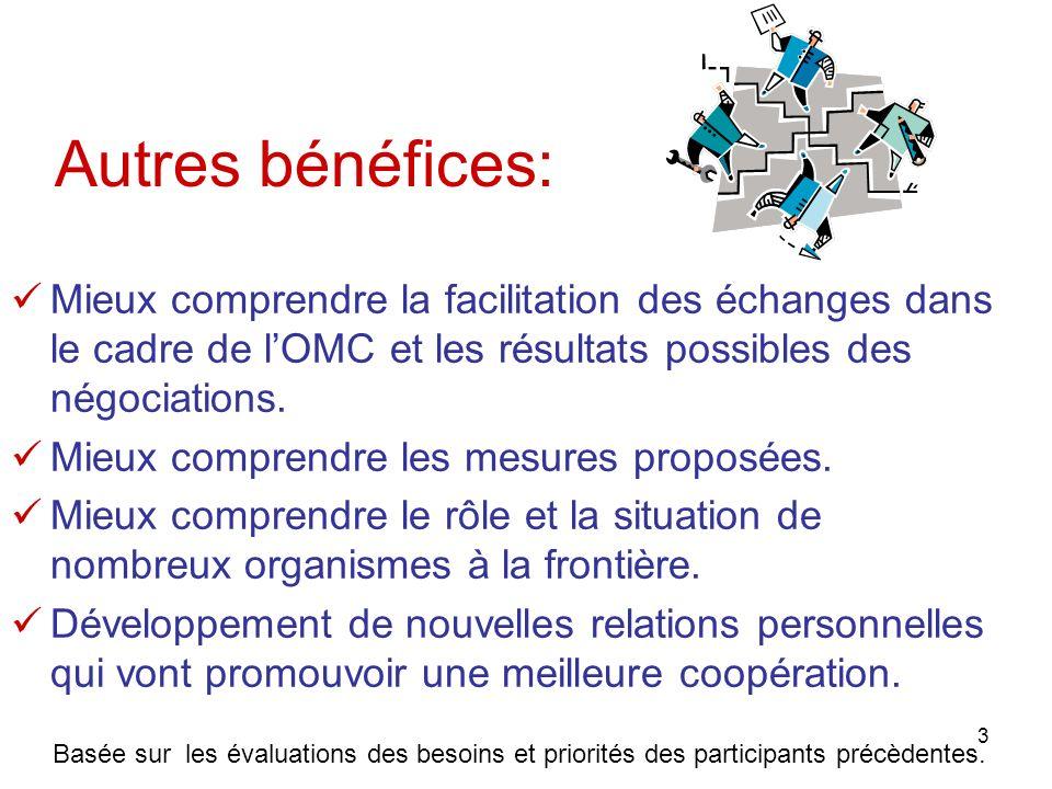 3 Autres bénéfices: Mieux comprendre la facilitation des échanges dans le cadre de lOMC et les résultats possibles des négociations. Mieux comprendre