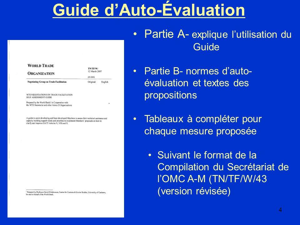 4 Partie A- explique lutilisation du Guide Partie B- normes dauto- évaluation et textes des propositions Tableaux à compléter pour chaque mesure propo