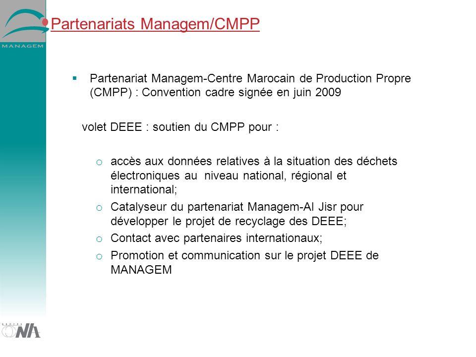 Partenariats Managem/CMPP Partenariat Managem-Centre Marocain de Production Propre (CMPP) : Convention cadre signée en juin 2009 volet DEEE : soutien du CMPP pour : o accès aux données relatives à la situation des déchets électroniques au niveau national, régional et international; o Catalyseur du partenariat Managem-Al Jisr pour développer le projet de recyclage des DEEE; o Contact avec partenaires internationaux; o Promotion et communication sur le projet DEEE de MANAGEM