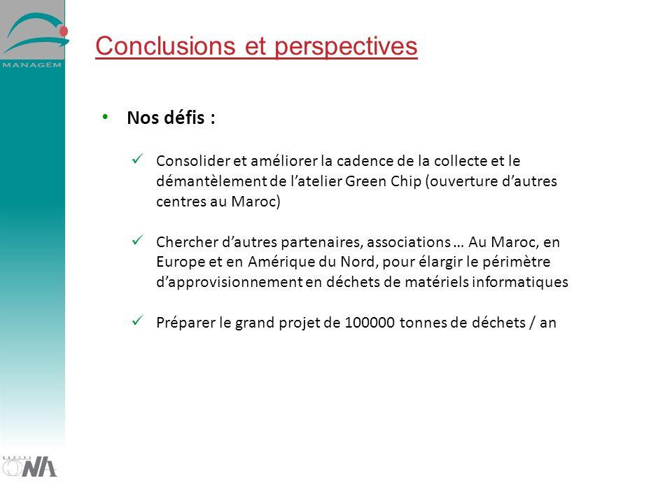 Conclusions et perspectives Nos défis : Consolider et améliorer la cadence de la collecte et le démantèlement de latelier Green Chip (ouverture dautre