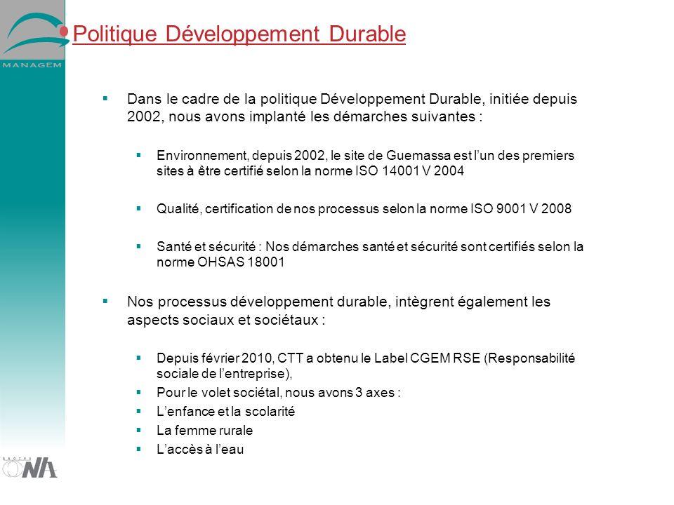 Politique Développement Durable Dans le cadre de la politique Développement Durable, initiée depuis 2002, nous avons implanté les démarches suivantes