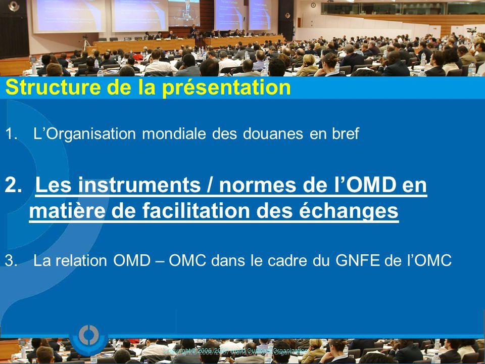 1. LOrganisation mondiale des douanes en bref 2. Les instruments / normes de lOMD en matière de facilitation des échanges 3. La relation OMD – OMC dan