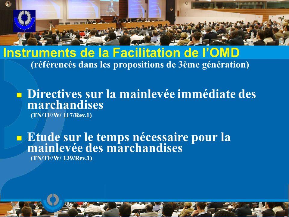 (référencés dans les propositions de 3ème génération) Directives sur la mainlevée immédiate des marchandises (TN/TF/W/ 117/Rev.1) Etude sur le temps n