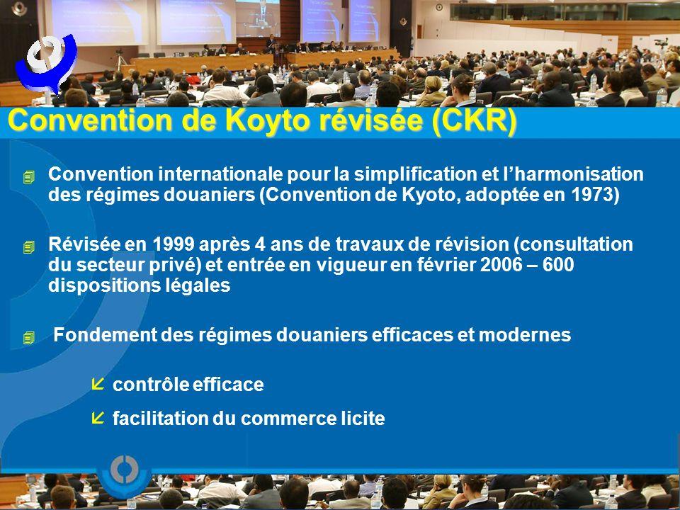 4 Convention internationale pour la simplification et lharmonisation des régimes douaniers (Convention de Kyoto, adoptée en 1973) 4 Révisée en 1999 ap
