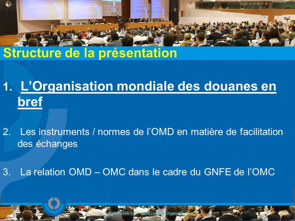 En 1994, le Conseil de coopération douanière (CCD) adopte la dénomination d Organisation mondiale des douanes O.M.D.