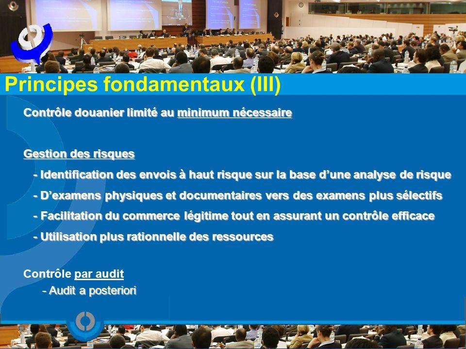 Contrôle douanier limité au minimum nécessaire Gestion des risques - Identification des envois à haut risque sur la base dune analyse de risque - Iden
