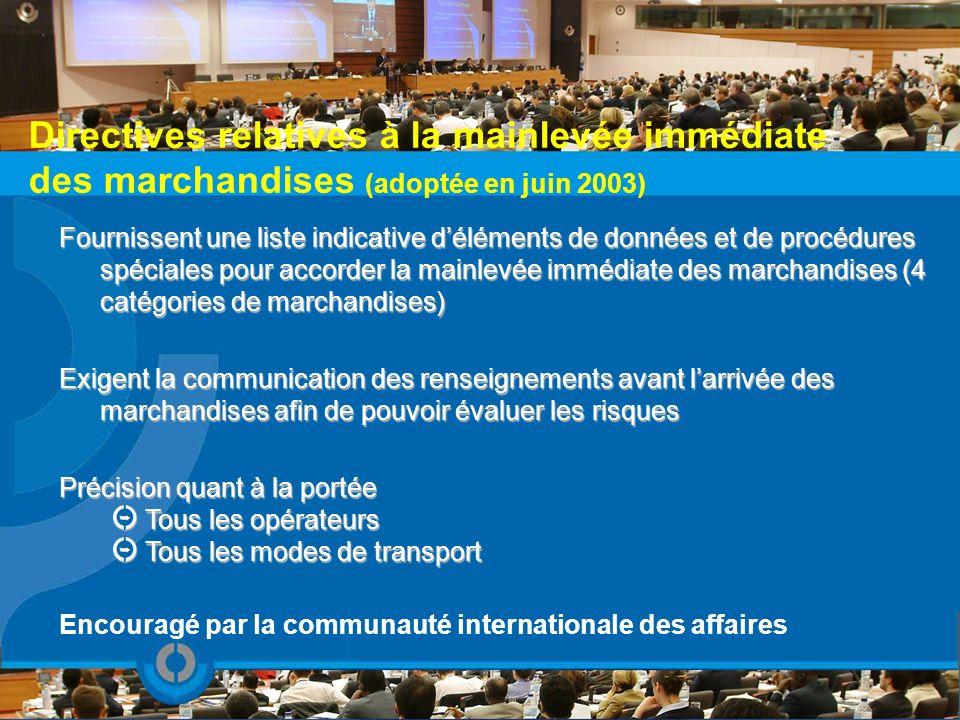 Directives relatives à la mainlevée immédiate des marchandises (adoptée en juin 2003) Fournissent une liste indicative déléments de données et de proc