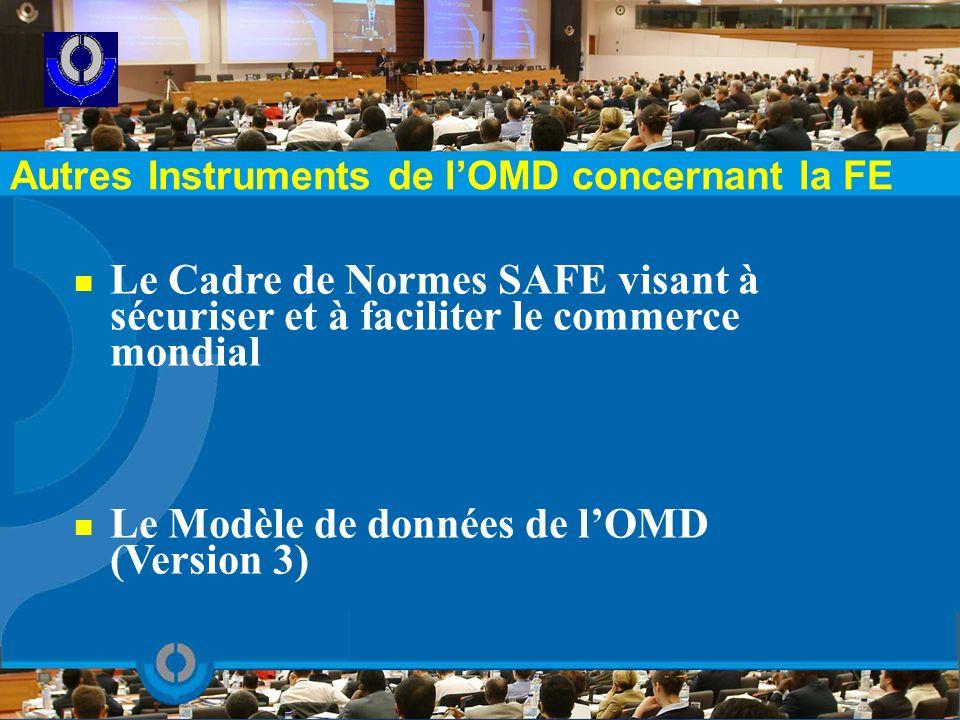 Autres Instruments de lOMD concernant la FE Le Cadre de Normes SAFE visant à sécuriser et à faciliter le commerce mondial Le Modèle de données de lOMD