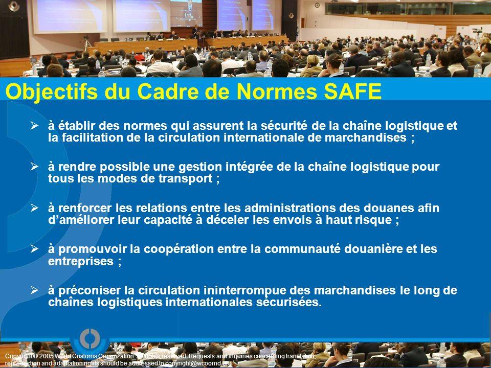 Objectifs du Cadre de Normes SAFE à établir des normes qui assurent la sécurité de la chaîne logistique et la facilitation de la circulation internati