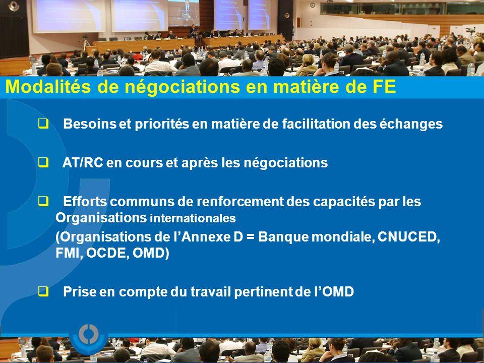Modalités de négociations en matière de FE Besoins et priorités en matière de facilitation des échanges AT/RC en cours et après les négociations Effor